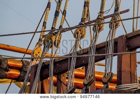 Rigging of an old replica sailing ship.