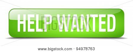 Help Wanted Green Square 3D Realistic Isolated Web Button