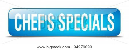 Chef's Specials Blue Square 3D Realistic Isolated Web Button