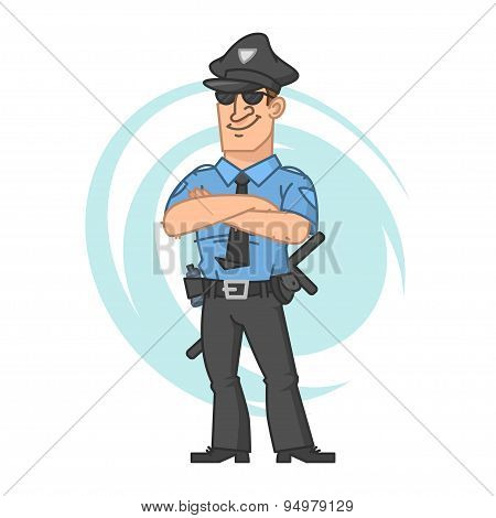 Police crossed hands and smiling