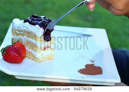 Eating Blueberry Cheese Cake