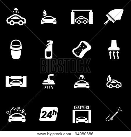 Vector white car wash icon set