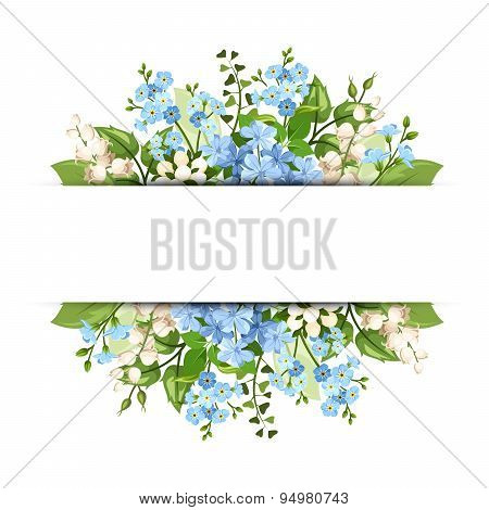 Background with blue and white flowers. Vector eps-10.