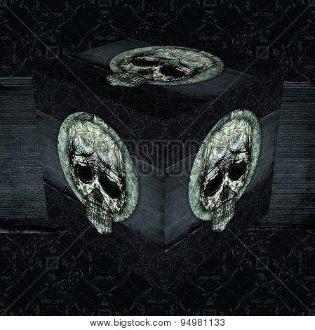 Skull Decorative Dark Cube