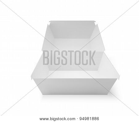 White food box, packaging for hamburger, lunch