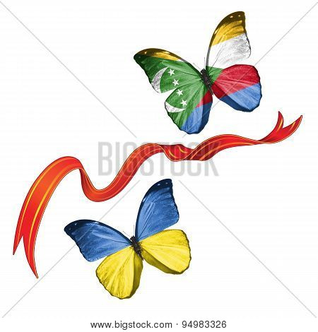 Two butterflies with symbols of Ukraine and Comoros