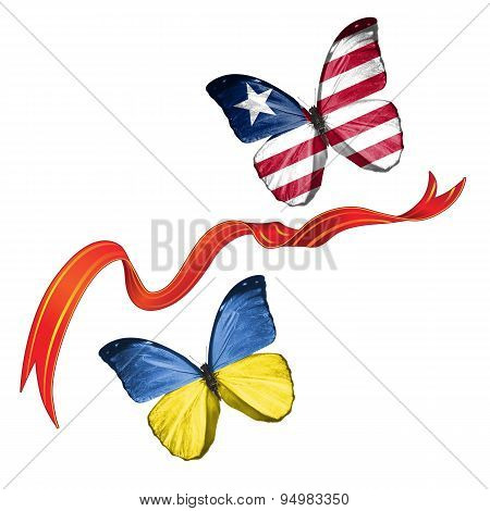 Two butterflies with symbols of Ukraine and Liberia