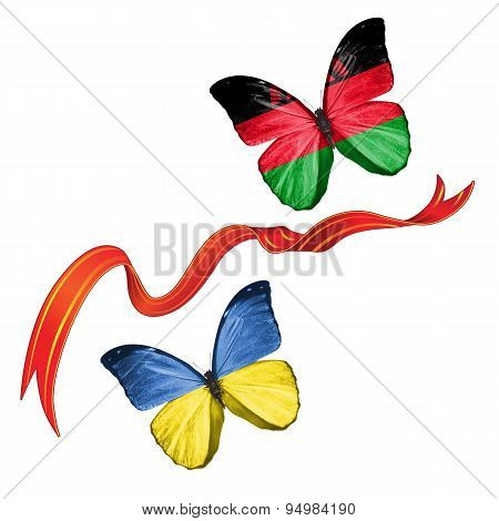 Two butterflies with symbols of Ukraine and Malawi