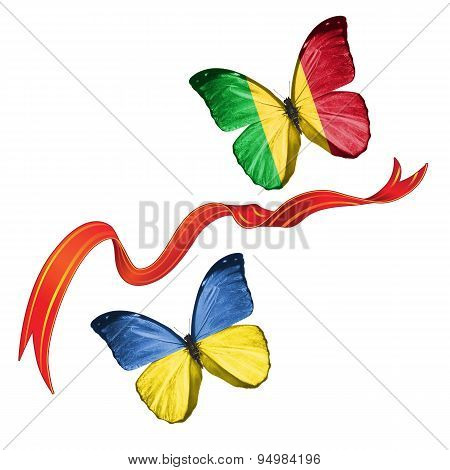 Two butterflies with symbols of Ukraine and Mali