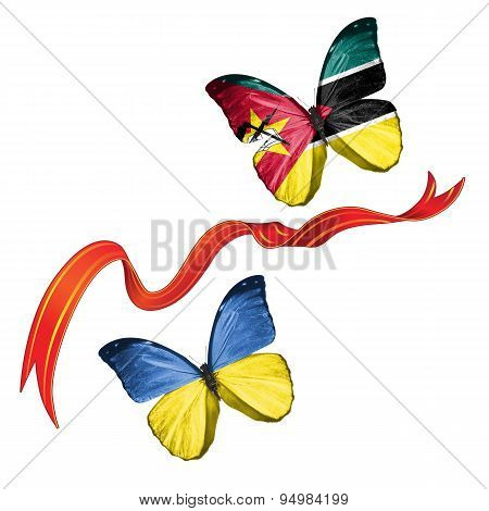 Two butterflies with symbols of Ukraine and Mozambique