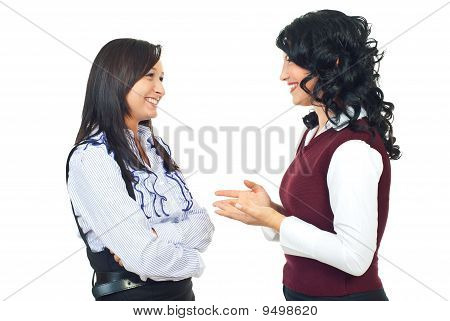 Two Women Having Happy Conversation