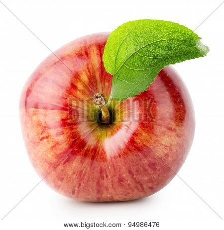 Shot From Above Red Apple With Green Leaf
