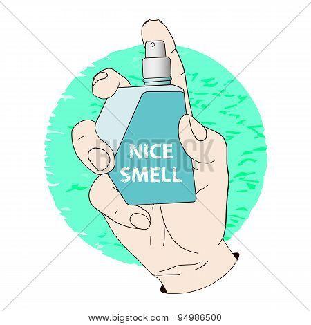 Perfume spray bottle in hand