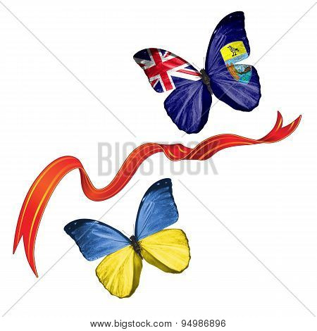 Two butterflies with symbols of Ukraine and Saint Helena