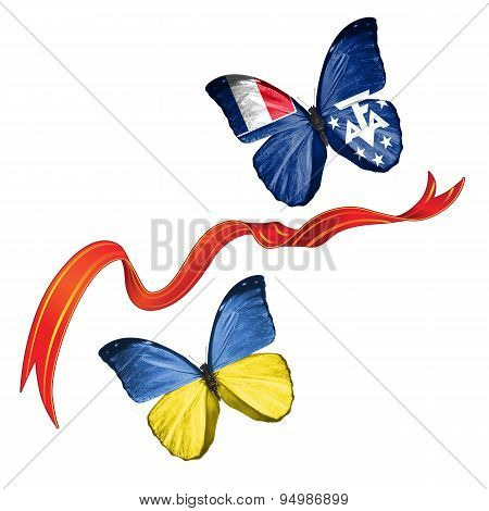 Two butterflies with symbols of Ukraine and Scattered Islands in the Indian Ocean