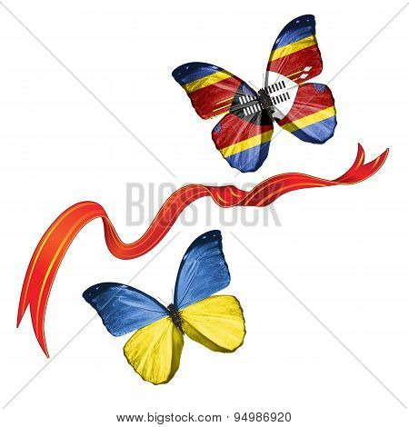 Two butterflies with symbols of Ukraine and Swaziland