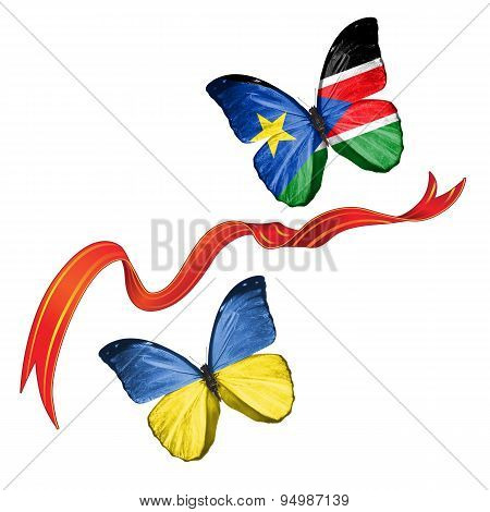 Two butterflies with symbols of Ukraine and Southern Sudan