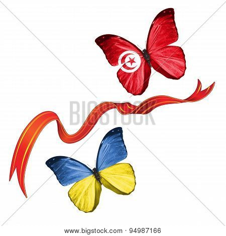 Two butterflies with symbols of Ukraine and Tunisia