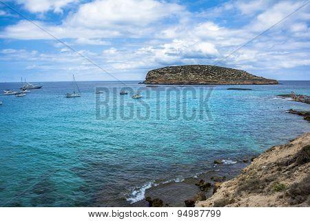 Mediterranean Bay In Ibiza, Balearic Islands.