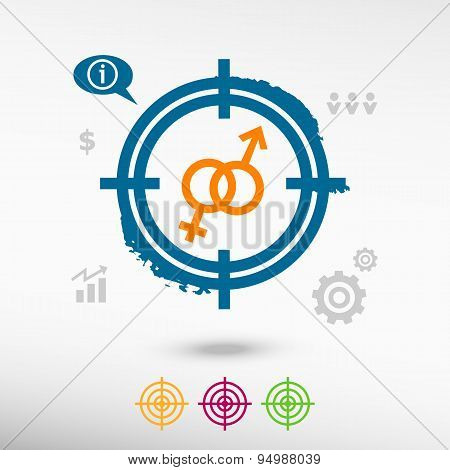 Male And Female Icon On Target Icons Background