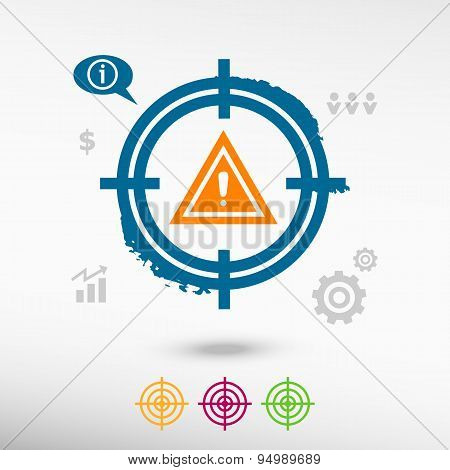 Warning.  Attention Caution Sign On Target Icons Background