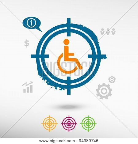 Disabled Handicap Icon On Target Icons Background
