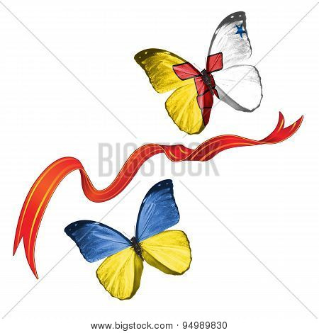 Two butterflies with symbols of Ukraine and Nunavut (territory)