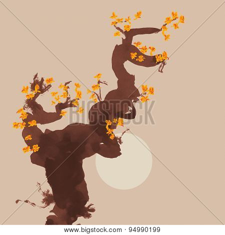 Greeting Card Template In Japanese Style. Blossoming Tree. Vectorized Ink Drawing