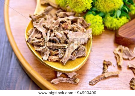 Root dry of Rhodiola rosea in spoonful with flowers on board