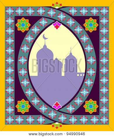 Traditional Oriental mosque frame. Arabic, Islamic pattern. Vector illustration