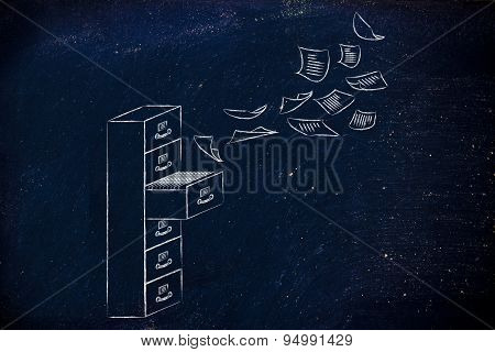 File Cabinet With Business Documents Flying Into Or Out Of It