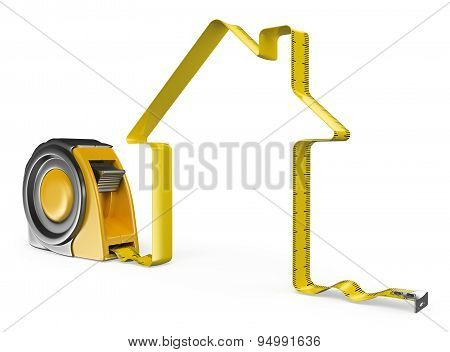 3D Measure Tape. House Concept