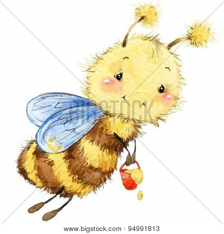 Cartoon insect bee watercolor illustration.