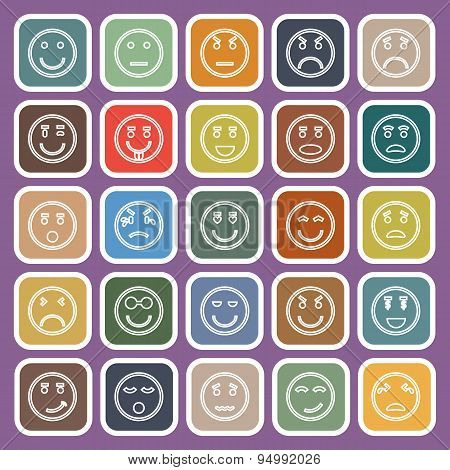 Circle Face Line Flat Icons On Violet Background