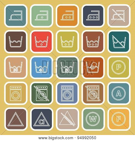 Laundry Line Flat Icons On Yellow Background