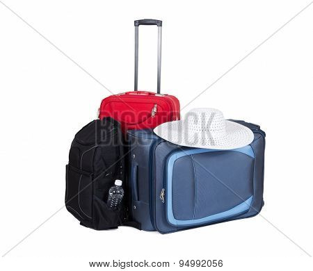 Luggage travel suitcases isolated on white background