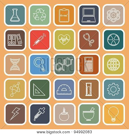 Science Line Flat Icons On Orange Background