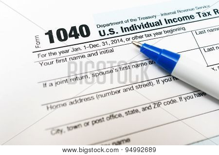 1040 tax form return close up