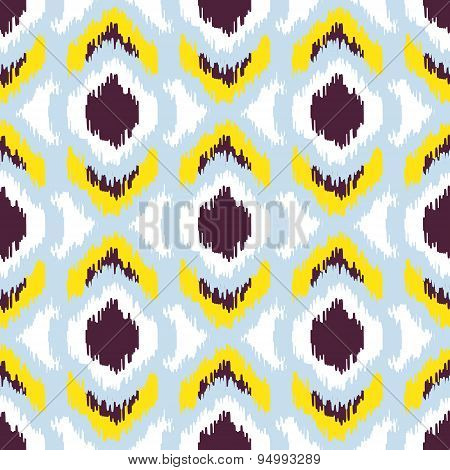 Ikat vector seamless pattern. Abstract geometric background for fabric, print or wrapping paper.