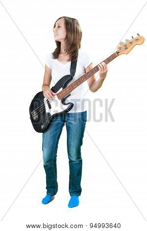 Girl playing electric Bass guitar isolated on white