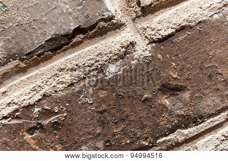 Red brick wall background close up