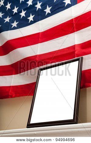 Blank photo frames on american flag background