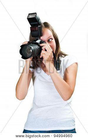 Girl shooting with her digital camera isolated on white background