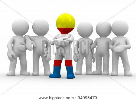 3d small person the leader of a team allocated with Krymchaks flag. 3d image. Isolated white backgro