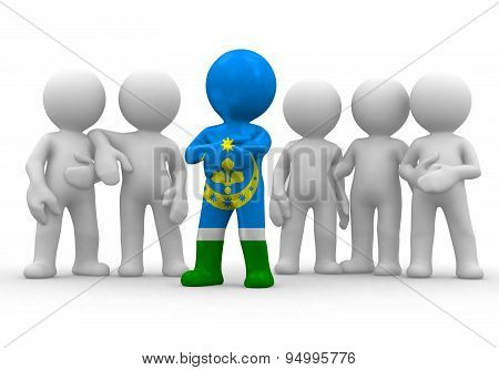 3d small person the leader of a team allocated with Siberian Tatars flag. 3d image. Isolated white b
