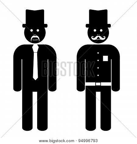 Man Cartoon Black And White Vector