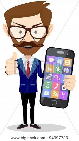 Flat cartoon hipster character - businessman with phone