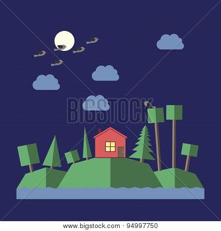 Night Landscape Flat Style
