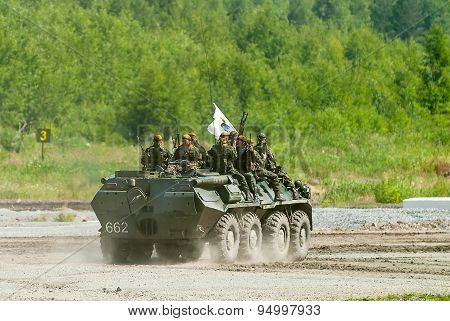 BTR-82A armoured personnel carrier with soldiers