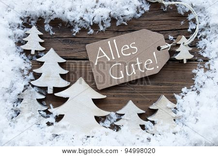 Christmas Label Snow Alles Gute Mean Best Wishes